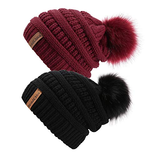 Winter Knit Beanie Slouchy Hat Soft Thick Warm Beanie for Women with Faux Fur Pompom Skull Caps (Black/Burgundy 2Pcs)