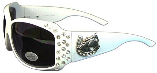 Bling Sunglasses with Horseshoe Oversize UV400 Polycarbonate Lens - Horse Sunglasses