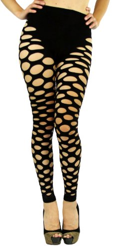 ToBeInStyle Women's Fishnet Slashed Leggings w/ Footless Design - One Size - (Footless Fishnets Leggings)