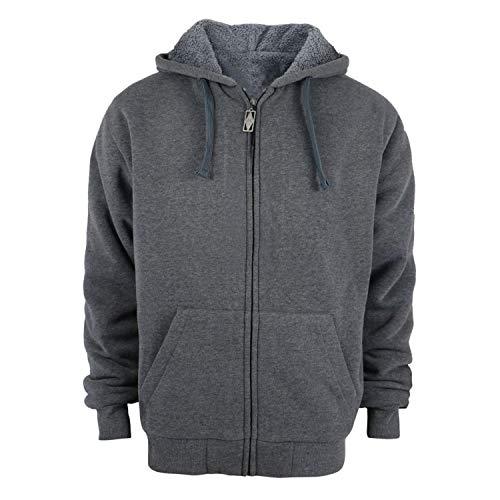 TanBridge Heavyweight Sherpa Lined Plus Sizes Warm Fleece Full Zip Mens Hoodie with Padded Sleeve & Rib Cuffs Dark Grey M