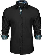 HISDERN Heren Inner Contrast Shirt Casual Formele Klassieke Button Down Jurk Shirts Lange Mouwen Geruite Kraag Regular Fit