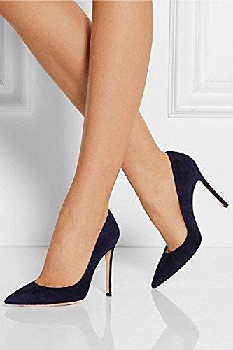 EDEFS Damen Pumps High Heels Spitze Zehe Klassische Stiletto Schuhe Navy