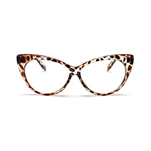 Coolsunny Super Cat Eye Glasses Vintage Inspired Mod Fashion Clear Lens Eyewear CS08781 (Tortoise, 67)