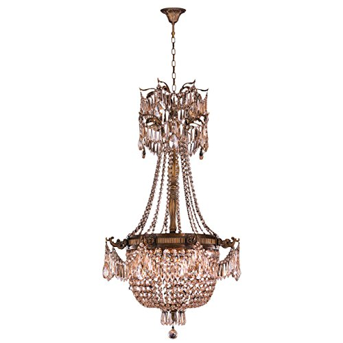 "Worldwide Lighting Winchester Collection 4 Light Antique Bronze Finish and Golden Teak Crystal Chandelier 24"" D x 40"" H Medium"