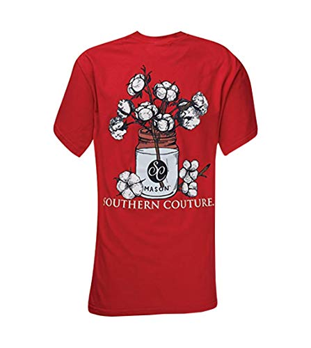(Southern Couture SC Comfort Mason Jar Cotton Womens Classic Fit T-Shirt - Red,)