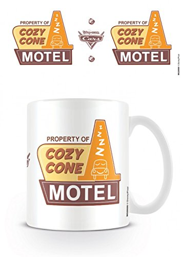 Set: Cars, Cozy Cone Motel, Disney Pixar Photo Coffee Mug (4x3 inches) And 1 x 1art1 Surprise Sticker