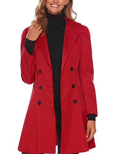 BEAUTYTALK Women's Notched Lapel Double-Breasted Long Jacket Trenchcoat (Cherry Red, Large)