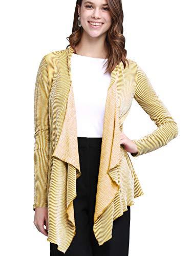 Lock and Love Women's Drape Front Open Cardigan Long Sleeve Irregular Hem S-5XL Plus Size Made in USA