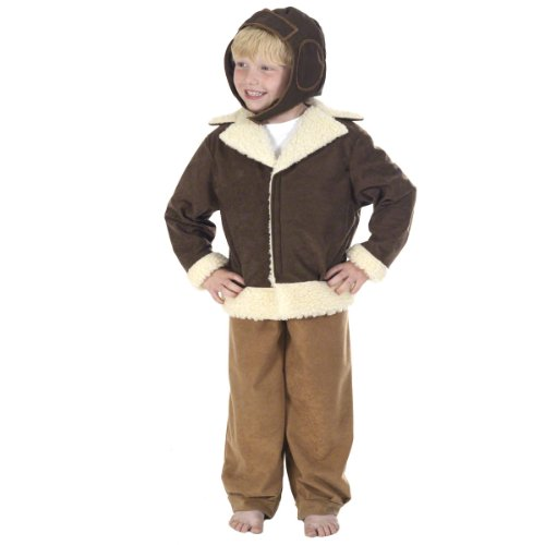World War 1 Children's Costumes (Charlie Crow Pilot / Bomber Costume 10-12 Years Multicoloured)