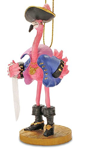 Cape Shore Tropical Pirate Girl Pink Flamingo Christmas Ornament]()