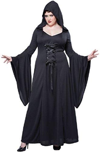 [8eighteen Deluxe Hooded Robe Black Gothic Vampire Women Plus Size Costume] (Plus Size Vampire Costumes)