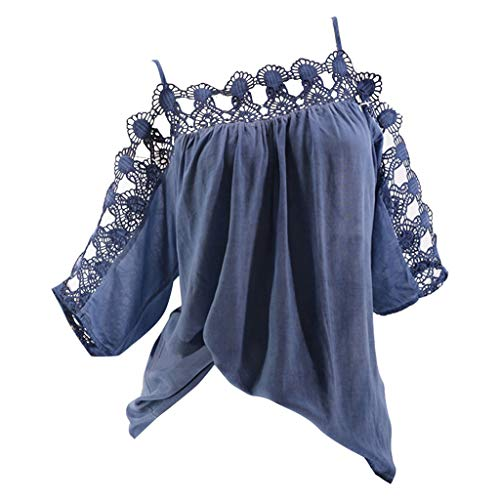 〓COOlCCI〓Womens Casual Tee Shirts Cold Shoulder Flowy Lace Hollow Out Summer Tops Basic Half Sleeve Tops Blouse Blue