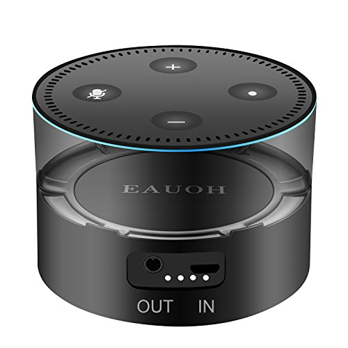 Price comparison product image EAUOH Portable Rechargeable Battery Base 5200mAh Intelligent Power Bank Battery Charger for Amazon 2nd Generation Echo Dot,Black