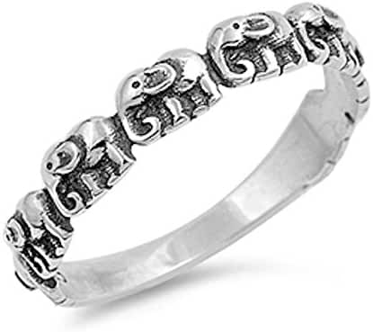 Oxidize Plain Elephant .925 Sterling Silver Ring Sizes 3-12