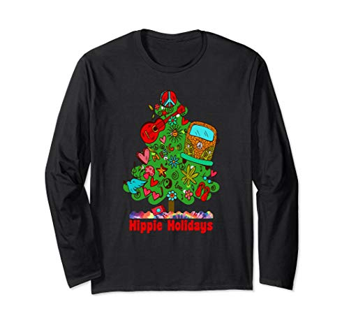 Groovy Christmas Tree - Hippie Holidays Long Sleeve Christmas Tee