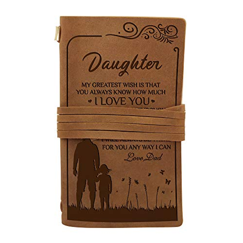Dad To Daughter Gifts - Custom Engraved Leather Vintage Bound Journals Writing Notebook- journaling sketching painting Fountain calligraphy pen - 7.6X4.5 inches (Dad To Daughter)