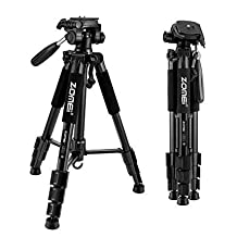 "ZOMEI 55"" Compact Light Weight Travel Portable Folding SLR Camera Tripod for Canon Nikon Sony DSLR Camera Video with Carry Case (Q111-Black)"