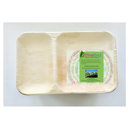 EtherEva 9x6 2 compartment rectangular sustainable palm leaf trays (for retail orders in 25 pcs)