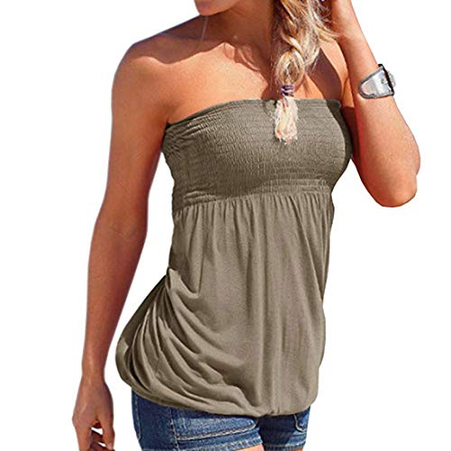 (Women Sleeveless Tube Top Strapless Blouse Pleated Tunic Tanks Tops for Womens (Gray,XL))