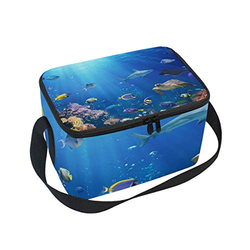 Lunch Insulated Neoprene Lunch Bag for Women and Kids - Underwater Scene With Coral Reef And Tropical Fish Printed Reusable Soft Lunch Tote for Work and School with Shoulder Strap ()
