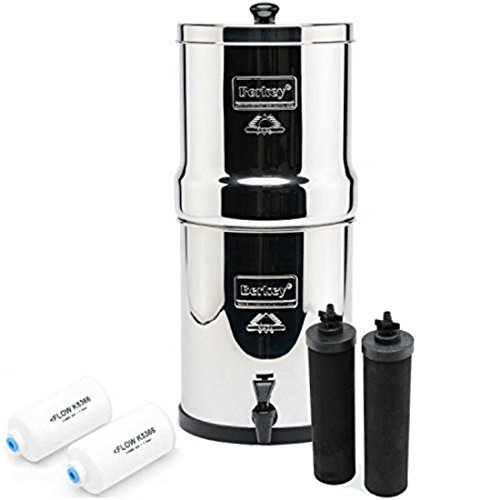 UPC 758330917993, Big Berkey Water Filters System 2.25 Gallon with 2 Black Berkey Purifiers and 2 Fluoride Filters and a Scrub Pad