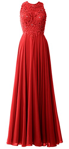 Macloth Red Gown Lace Evening Dress Sleeveless Prom Women Wedding Long Formal Party rPrxqw
