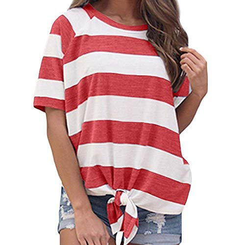 LONGDAY Women's Short Sleeve Striped Crop T-Shirt Casual Tee Tops Crew Neck Tie Front Loose Blouse Plus Size Tunic Red