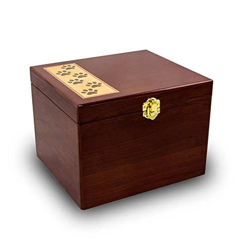 Paw Print Memory Chest Wood Memorial Urn for Dogs and Cats - Small - Holds Up to 40 Cubic Inches of Ashes - Brown Pet Cremation Urn for Ashes - Engraving Sold Separately by OneWorld Memorials