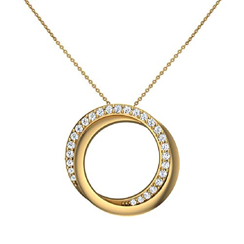 Glitz Design 0.61 ct Intertwined Circles Diamond Necklace Pendant 14K Yellow Gold (P0178)