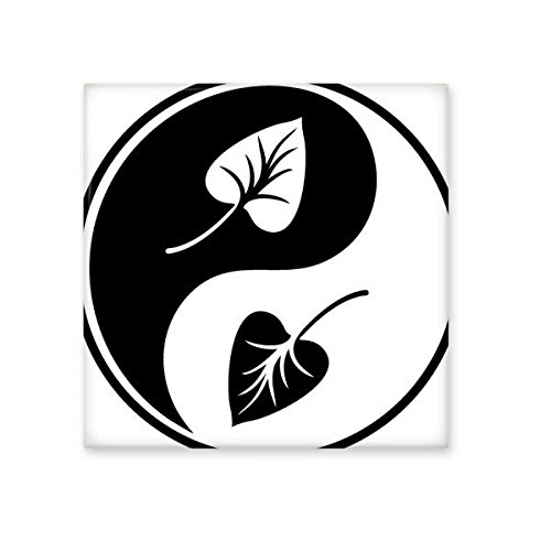 Buddhism Religion Buddhist Black White Yin-yang Leaf Round Design Illustration Pattern Ceramic Bisque Tiles for Decorating Bathroom Decor Kitchen Ceramic Tiles Wall Tiles outlet