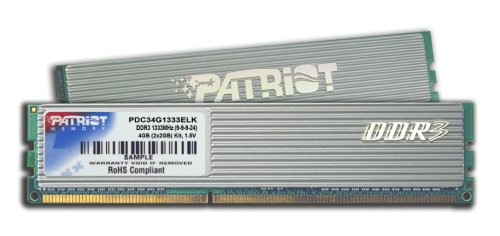 Patriot PDC34G1333ELK Extreme Performance PC3-10666 DDR3 1333MHz 4GB CAS 9-9-9-24 Enhanced Latency Dual Channel Kit (Silver) (Gb Silver 4 Kit)