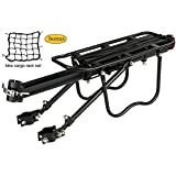 Dirza Rear Bike Rack Bicycle Cargo Rack Quick Release Adjustable Alloy Bicycle Carrier 115 Lb Capacity Easy to Install Black