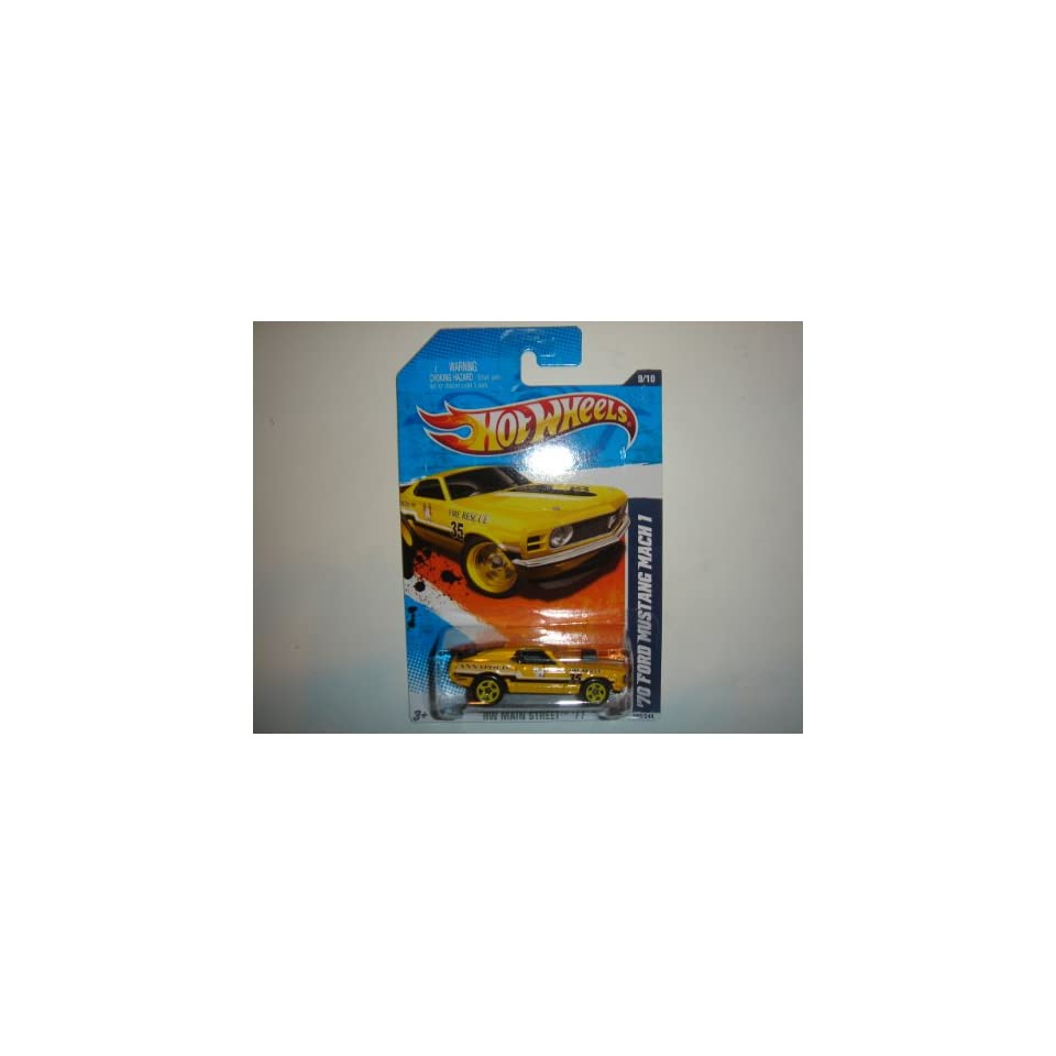 2011 Hot Wheels 70 Ford Mustang Mach 1 Yellow #169/244