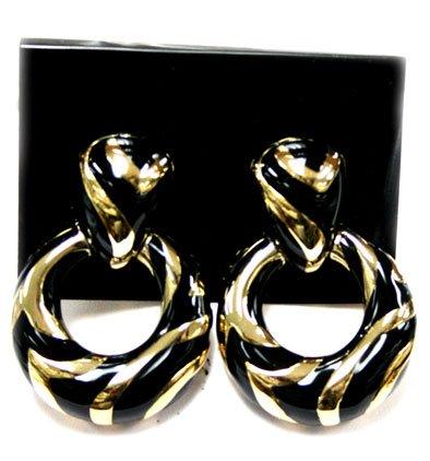 (Gold and Black Zebra Striped Earrings - Fashion Clip On Earrings )