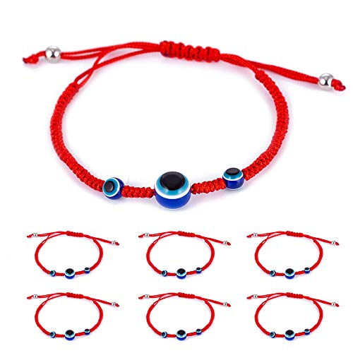 6pcs Evil Eye Braided String Kabbalah Bracelets for Protection and Luck Hand-Woven Red Rope Cord Thread Friendship Bracelet Anklet (6pcs-3-eye)