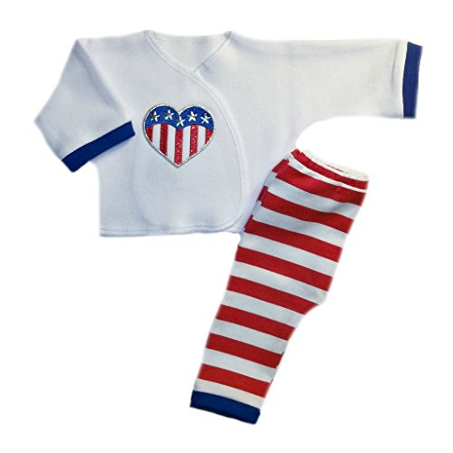 Micro Stripe Pants - Jacqui's Unisex Baby USA Stripes and Heart 2 Piece Outfit, Micro Preemie