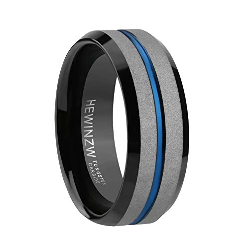 HEWINZW Tungsten Ring Men 7mm Blue Grooved Design Beveled Edge Engagement Wedding Band Comfort Fit Size 7-13 (12.5)