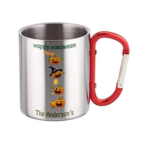 Personalized Custom Text Halloween Pumpkin Party Steel Carabiner Mug for $<!--$19.99-->