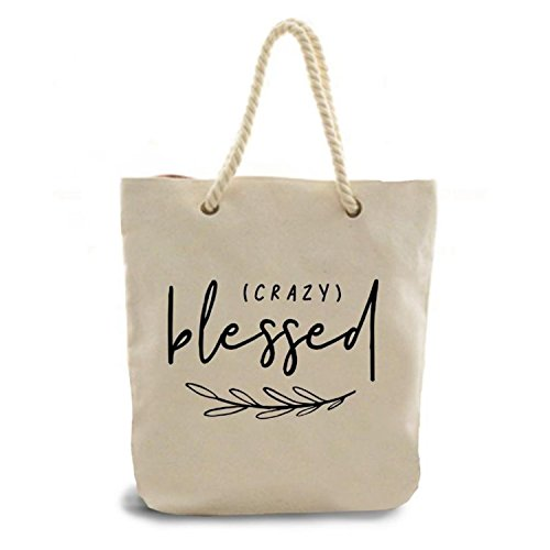 ReLIVE Printed Canvas Tote Bag with Rope Handle (Crazy Blessed) by ReLive
