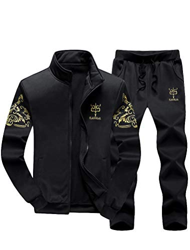 (Lavnis Men's Casual Tracksuit Full Zip Running Jogging Athletic Sports Jacket and Pants Set Black S)