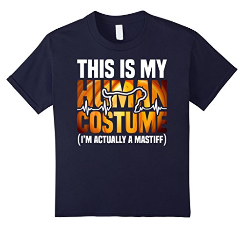 Kids Mastiff Halloween 2017 Shirt - This is my human costume 4 Navy