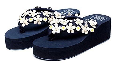 fleurs lanières Night compensé talon Bleu perlées Good Tongs Élégantes xvdwBYE