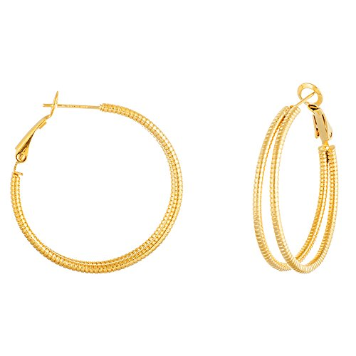 Gold Tone Stainless Steel Double Row Ribbed 35mm Hoop