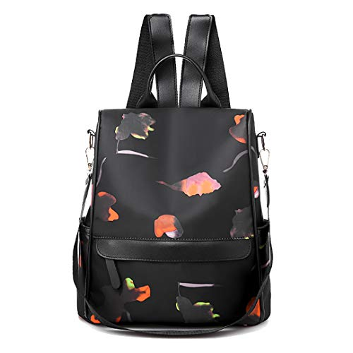 (Ccassie Women Floral Backpack Purse Nylon Anti-theft Watreproof Fashion Casual Lightweight Travel School Shoulder Bag)