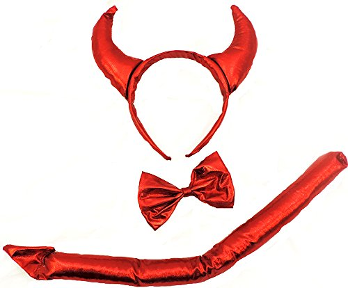 3 Piece Red Devil Set With Horns, Bow Tie, And Tail (Naughty Devil Costume)