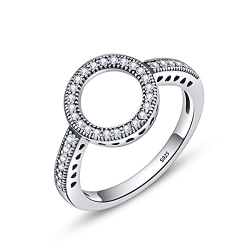 - BAMOER 925 Sterling Silver Circle of Life CZ Eternity Halo Ring for Women Promise Ring Size 6-9 (9)