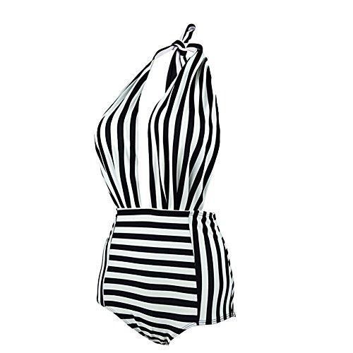 Fitibest Elegante Bikini Navy Stile Unici Bicchierino Striato Backless Suit Alto Vestito Bagnato Vestito per Le Donne