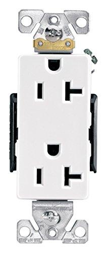 Eaton 6342W 20-Amp 125-volt Industrial Grade Straight Blade Decorator Duplex Receptacle, 5-15R NEMA, (Cooper Decorator Duplex Receptacle)