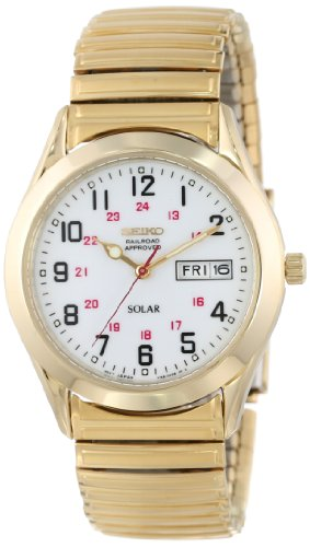 Gold Tone White Dial - Seiko Men's SNE064 Gold Tone Solar White Dial Watch