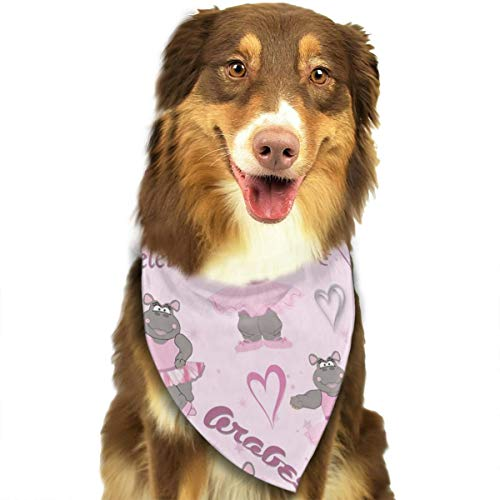 OURFASHION Hippo Ballerina Dancer Bandana Triangle Bibs Scarfs Accessories for Pet Cats and Puppies.Size is About 27.6x11.8 Inches (70x30cm). ()